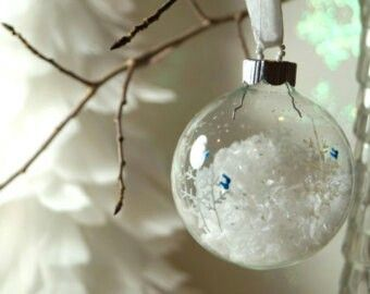 Hand-painted clear glass globe ornaments - snowy trees