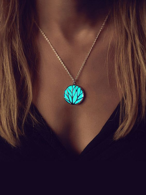 Glowing Necklace Halloween Turquoise Necklace Best by EpicGlows: