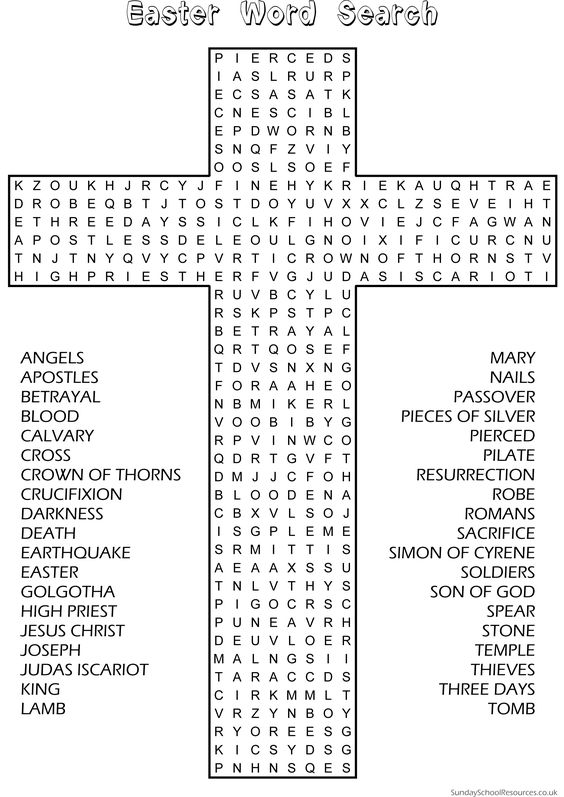 Printables Sunday School Worksheets For Kids easter word search sunday school activity website has good material