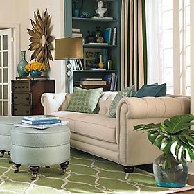 Teal green and beige nice living room decor interior for Green and beige living room ideas