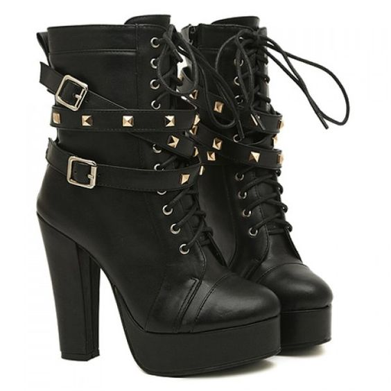 Fashion Buckles and Rivets Design Women's Chunky Heel Short Boots ...