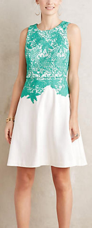 Turquoise and White Lace Dress