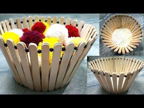Diy Flowers Basket Decoration Ice Cream Stick Craft Ideas Pop Stick Craft Youtube Ice Cream Stick Craft Pop Stick Craft Craft Stick Crafts