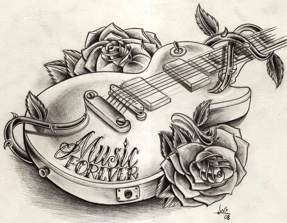 music tattoos tattoos. Different flowers though, possibly an acoustic guitar.