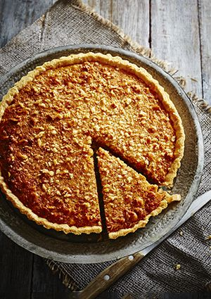 This recipe makes for a delicious and easy nutty, toffee tart. It serves 8 and looks fantastic, so it's a great one for a dinner party or cosy family lunch. Buy cobnuts from Waitrose or at cobnuts.co.uk, but if you can't get hold of them, use hazelnuts instead.