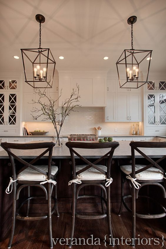 Love the pendant lighting.... White shaker style kitchen, with cross mullions on glass doors, dark floors and pendant lighting: