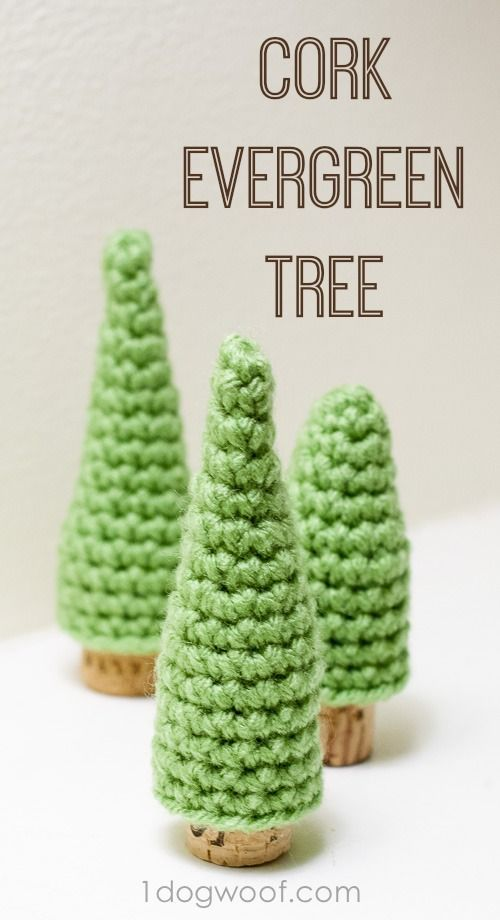 Free Cork Evergreen Pine Tree crochet patterns at www.1dogwoof.com: