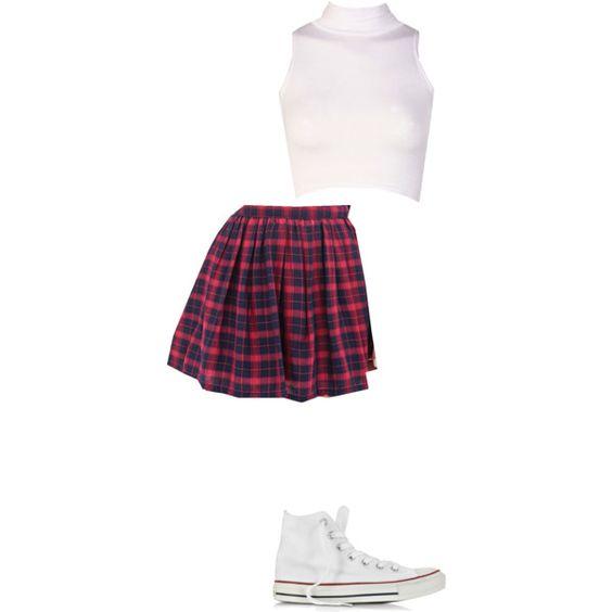 plaid skirt, white converse, white mock neck crop top