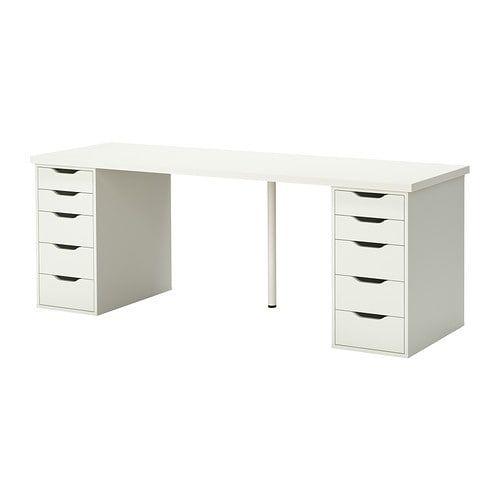 Linnmon Alex White Table 200x60 Cm Ikea Craft Table Ikea Ikea Table Guest Room Office