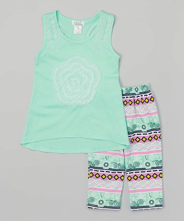 Love this Mint Lace Flower Top & Geometric Leggings - Toddler & Girls on #zulily! #zulilyfinds