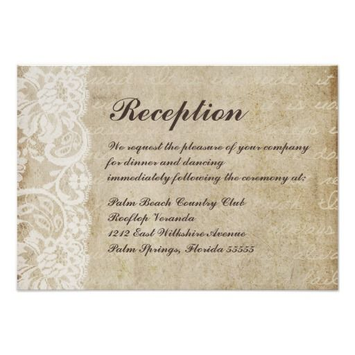 vintage lace old world wedding reception card | wedding reception, Wedding invitations