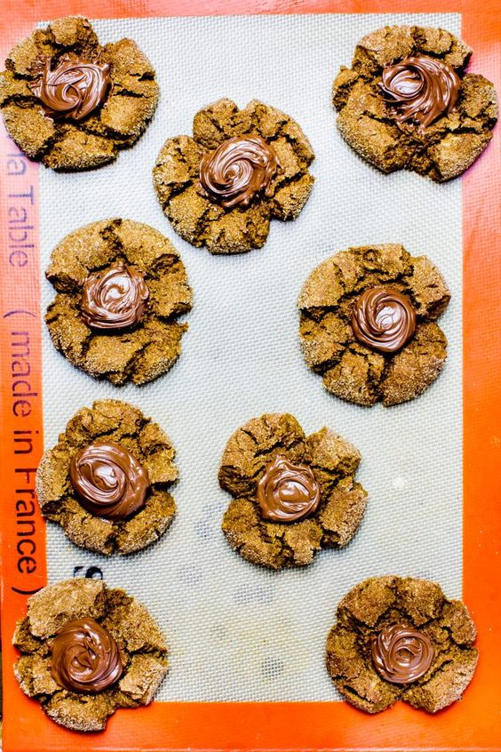 Soft Snickerdoodle Gingerbread Cookies with Nutella Puddles – Yeah…Immaeatthat