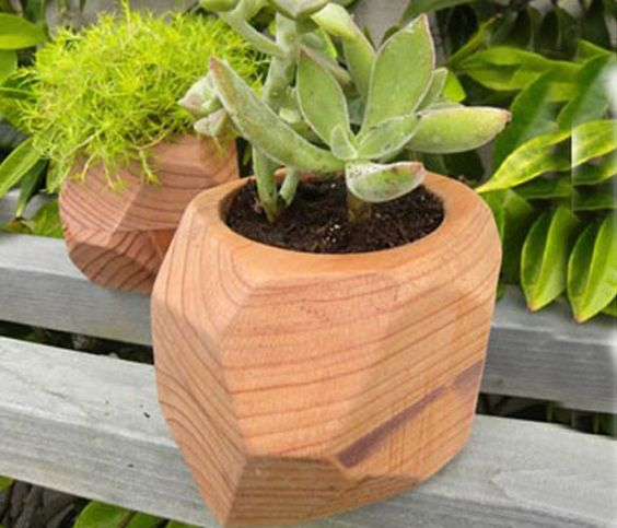 Redwood planter, carved to look like a rock