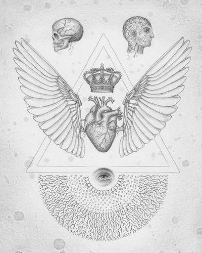 Sacred Geometry, man, skull, wings, crownd heart, third eye