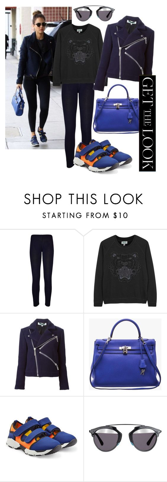 """""""Get the Look Jessica Alba Sporty"""" by anastasya-zamula ❤ liked on Polyvore featuring WearAll, Kenzo, Hermès, Marni, Christian Dior, women's clothing, women, female, woman and misses"""