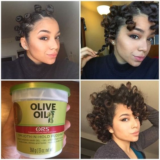 Bantu Knots via: @actuallyashly! 1. Washed hair in AM, put Shea Moistures JBCO leave-in, and let hair dry naturally. Brushed out and sectioned hair into 4 parts 2. Took smaller section and applied a dime/nickel size amount of ORS Hair Care Smooth n Hold Pudding to it. Comb through section 3. Twist hair (not too tight) and wrap into Bantu Knot. Secure with bobby pin. 4. Put bonnet on and Go To Sleep 5. Put Almond Oil on hands, unravel Bantu Knots. 6. Separate each section, fluff roots.
