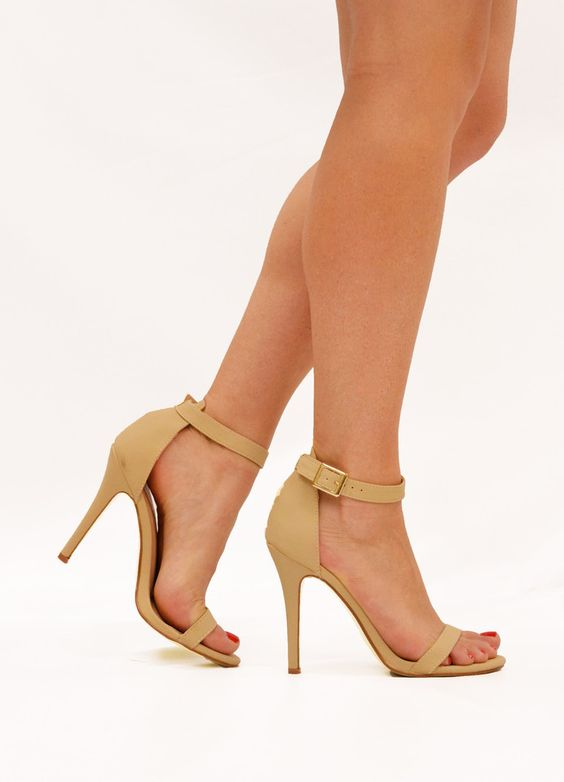 - Available in Black, Nude and Pink - Open Toe - Ankle Strap - Lightly Padded Insole - 4 Inch Heel