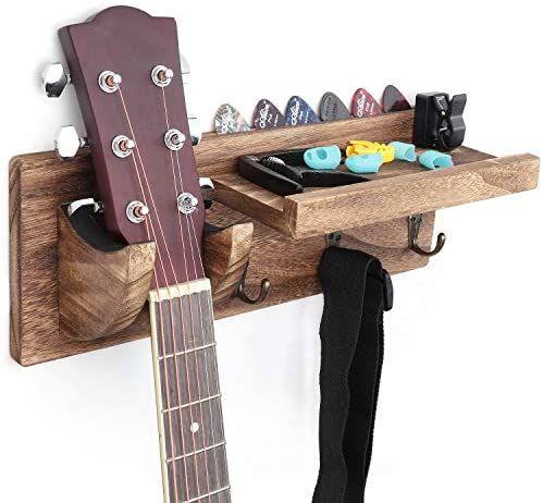 Bikoney Guitar Holder Wall Mount Bracket Guitar Wall Hanger Wood Hanging Rack With Pick Holder And 3 Hook Carbonized Black Guitar Wall Hanger Guitar Wall Wood Guitar Stand