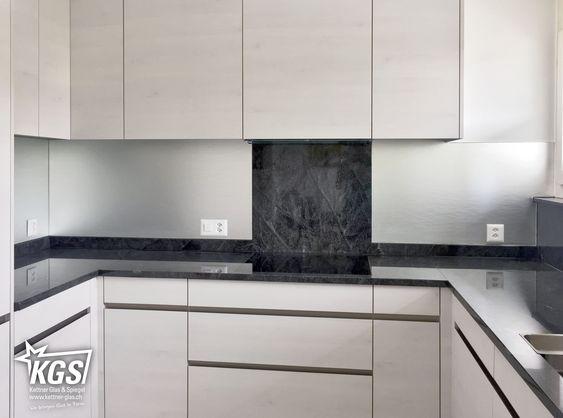 Glasküchenrückwand aus verspiegeltem Strukturglas «Madras Stream - spritzschutz küche folie