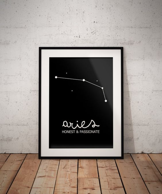 Aries Constellation Art. Aries Wall Art. Aries by SilverDreamCo