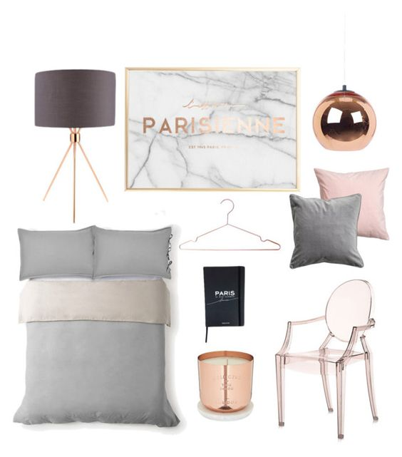 Blush, copper, grey & marble bedroom planning by loissteele on Polyvore featuring polyvore, interior, interiors, interior design, home, home decor, interior decorating, Kartell, Tom Dixon, H&M and bedroom