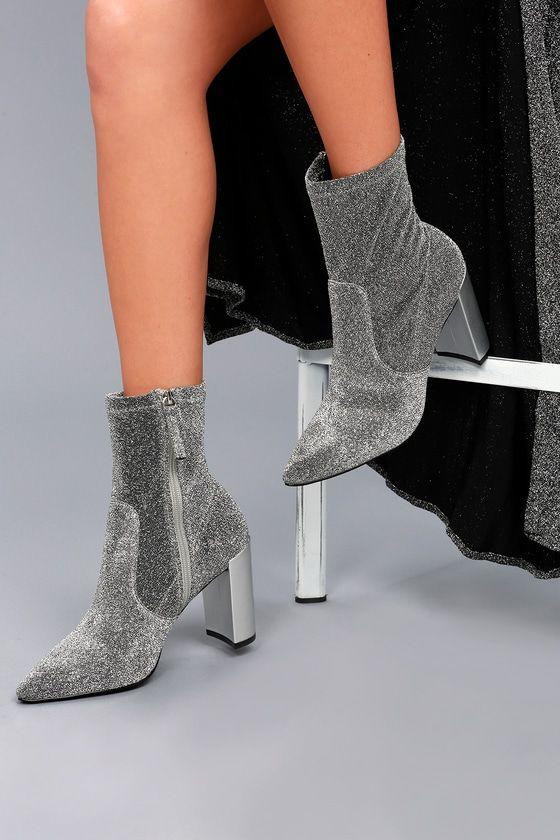 Raine Silver Metallic Mid-Calf Sock