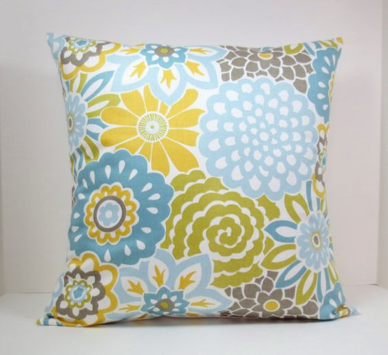 Waverly Decorative Throw Pillows : Waverly Blooms decorative throw pillow cover 18 x18 inches Accent cushion sham in Spa blue ...