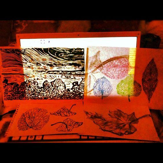 Pencil drawings, ink printing, gel painting...