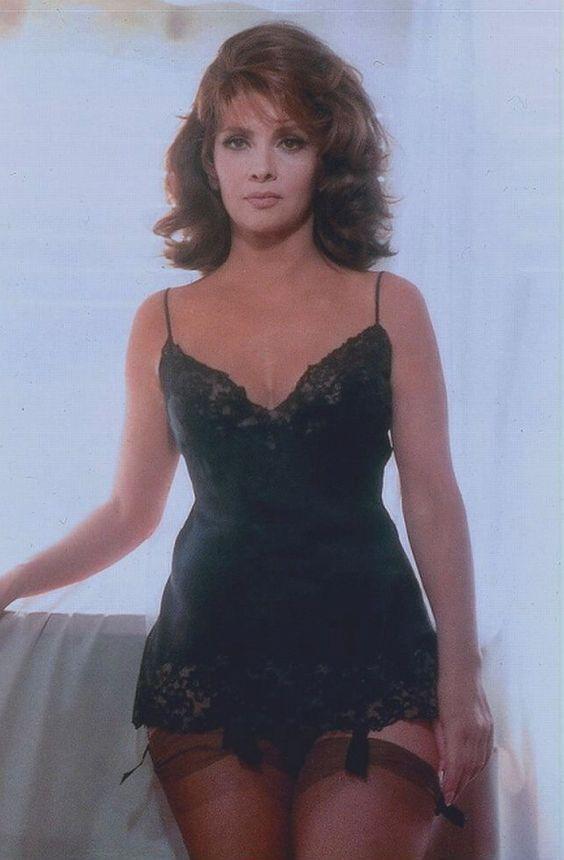 Gina Lollobrigida in a black slip, garters and hose. | Vintage ...