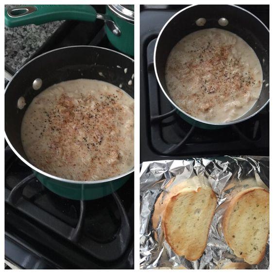 Tuna helper (with a twist) with garlic bread