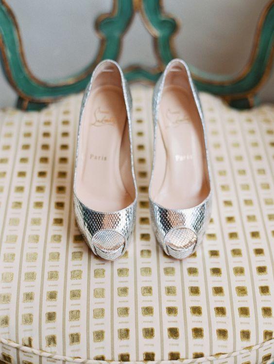 silver wedding shoes {lane Dittoe fine art wedding photographs}