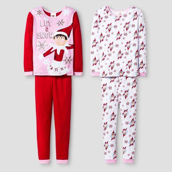Girls' Elf on the Shelf Pajama set - Red