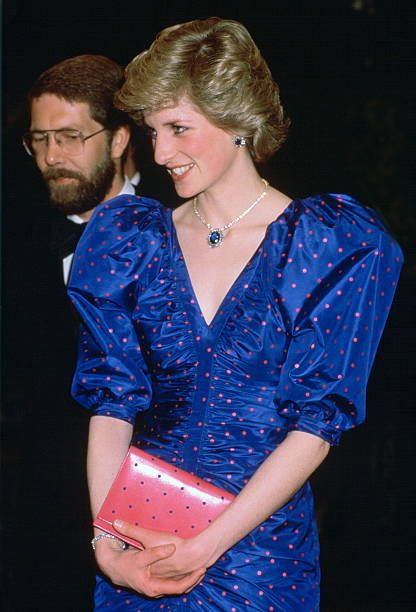 May 02, 1986 - The Princess Of Wales Attending The World Festival Of Arts Opera Performance In Canada Wearing A Dress Designed By Fashion Designer Bruce Oldfield