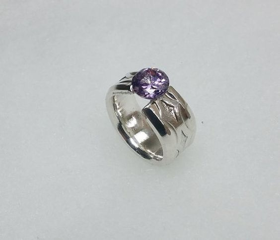 90er Silberring mit Amethyst-Kristall SR545 von Schmuckbaron