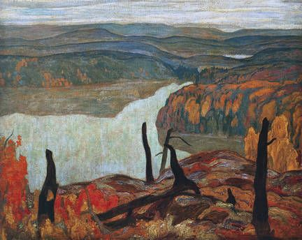 A.Y. Jackson: The #morning #mists are slowly dispersing round #Mongoose #Lake as we start off on the day's #hunting, being individuals we mostly go different ways, as there are no #road we can go anywhere.  #Canada #Art #painting #paintedland