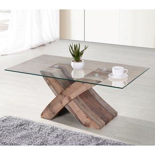 Elden Tempered Glass Top Coffee Table Brown Ottomanson With