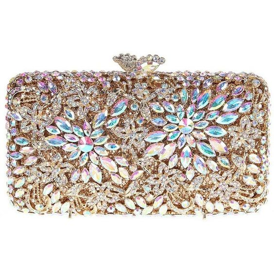 Santimon Women Clutch Flower Clutch Purse Luxury Crystal Evening Bags... ($93) ❤ liked on Polyvore featuring bags, handbags, clutches, evening bags, flower purse, evening handbags, crystal clutches and crystal purse