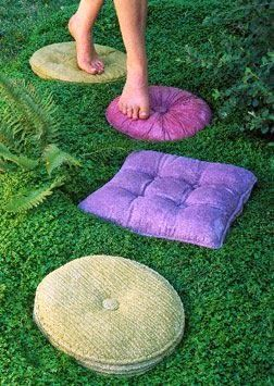 These look like pillows, but they are actually concrete stepping stones: