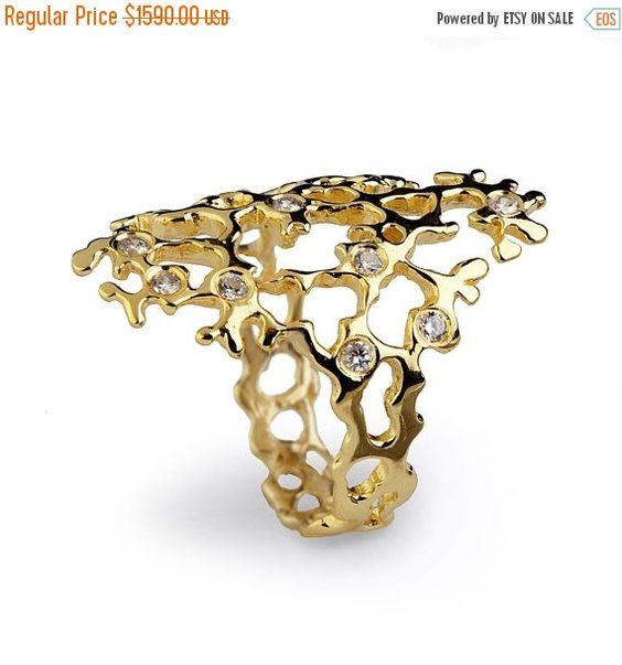 Christmas SALE – SEA SPRAY Sleek Diamond Ring Gold Statement Ring