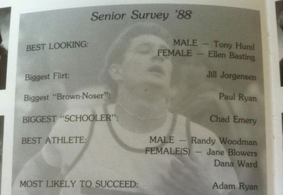"paul-ryan-high-school-yearbook ""brown-noser"" via @mashable #GOP VP choice Paul Ryan"