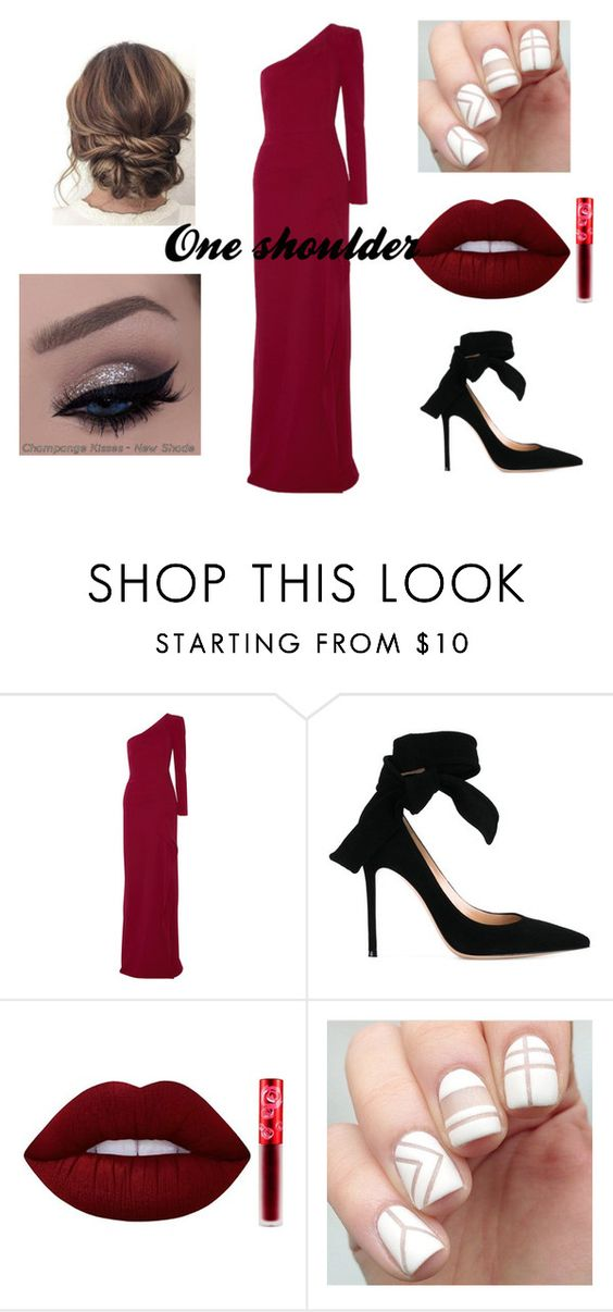 """Fancy one shoulder dress"" by avathegeek ❤ liked on Polyvore featuring Roland Mouret, Gianvito Rossi, Lime Crime, partydress and oneshoulder"