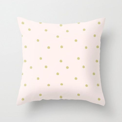 Pillow Cover Throw Gold Dots Glitter Pink Nursery Room
