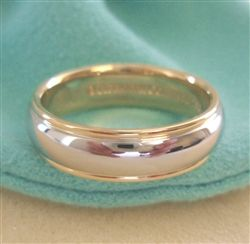 Tiffany co platinum 18k gold 6mm lucida wedding band for Tiffany mens wedding ring