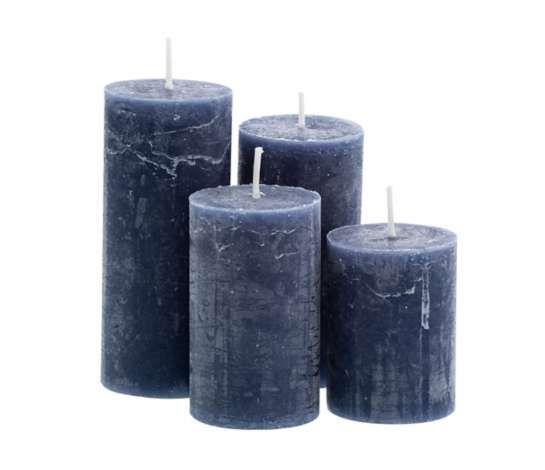 Rustikale Kerzen Blau Abgestuft 4 Stuck Rustikale Kerzen