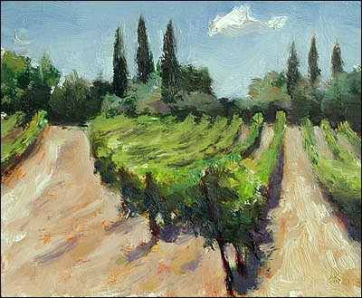 Vines at Gigondas  14cm x 11cm, oil on gessoed card Painting status: SOLD  Daily painting for Wednesday 22 June, 2005