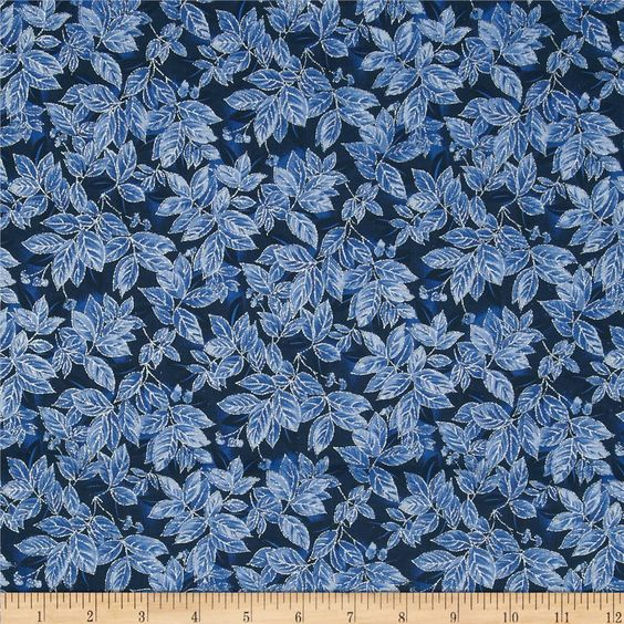 Timeless Treasures Holiday Glitter Leaves Navy from @fabricdotcom  Designed for Timeless Treasures, this cotton print includes shades of blue and navywith a silver glitter accent throughout. Use for quilting, crafts and home decor accents.