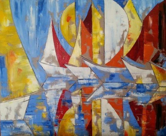 Bateaux au couteau la peinture l 39 huile par patricia - Peindre sur de la peinture brillante ...
