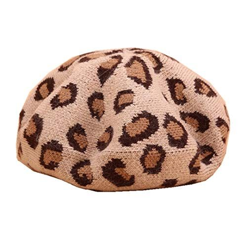 Women/'s Knit Slouchy Hat in Gray and Brown Leopard Print