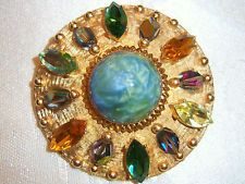 VTG ACCESSOCRAFT NYC COLORFUL JEWELED CRYSTAL RHINESTONE BROOCH PIN PENDANT