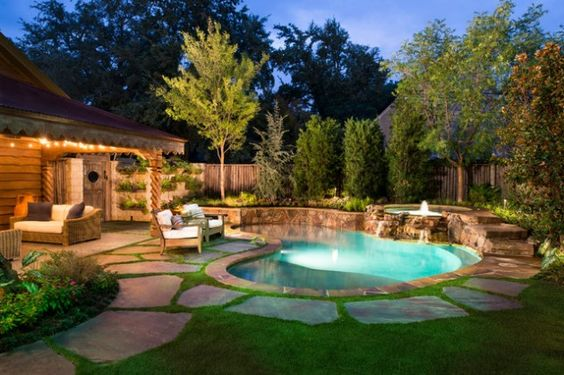 Small Backyard Pool And Grass Design | Beautiful Small Swimming Pool Designs  For Small Yard   Elraziq.com | New House | Pinterest | Small Backyard Pools,  ...